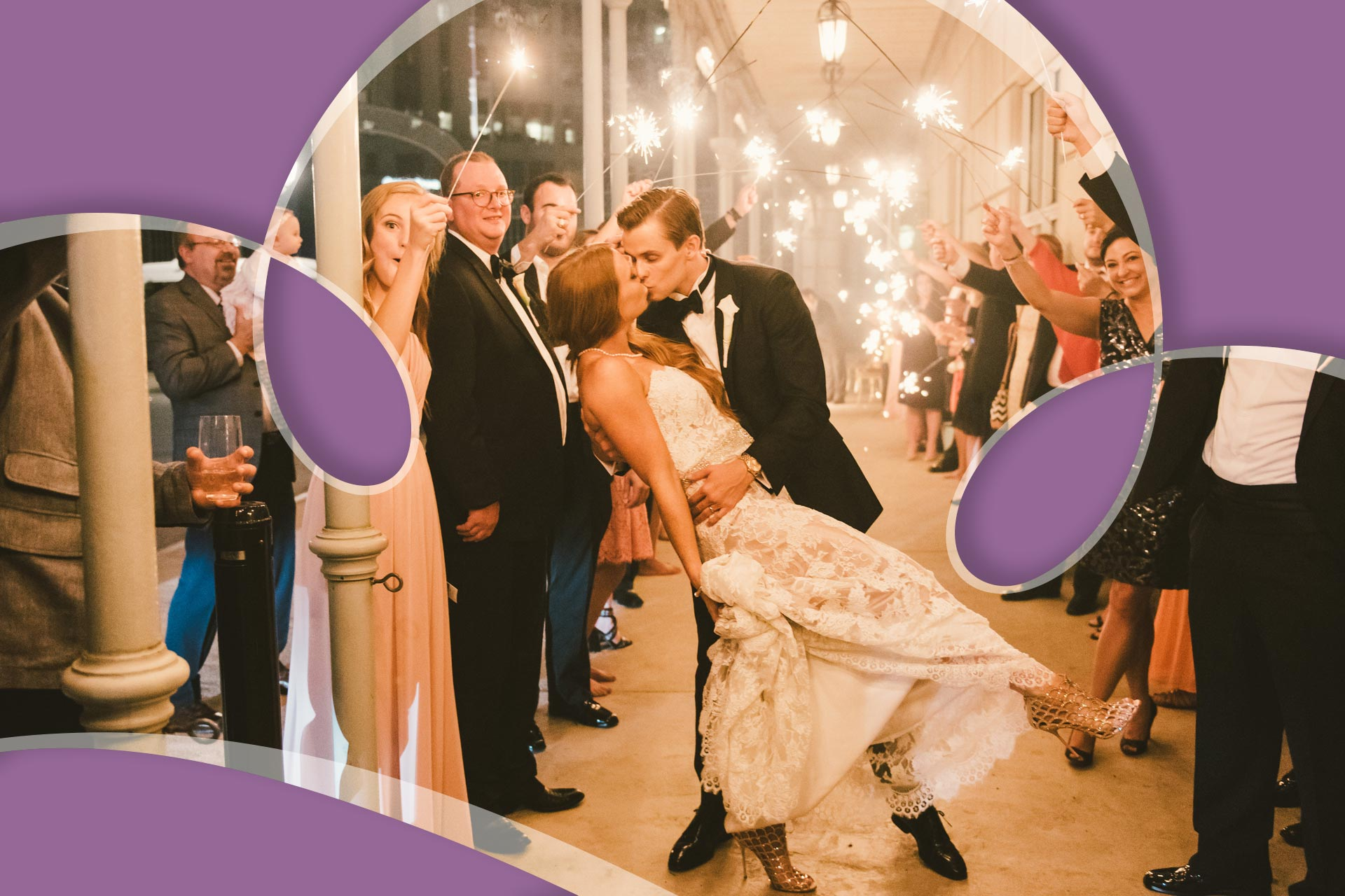 just married wedding couple kissing after wedding sparklers tunnel ricardo tomas weddings event planner