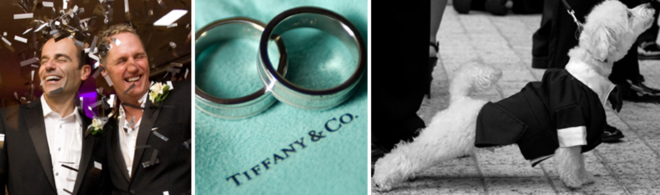 Same-Sex Marriage dog in wedding tiffany and company grooms rings confetti creative ideas ricardo tomas weddings event planner